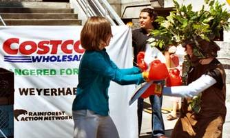 Demonstration outside a Costco store that sells Xerox products - Xerox used to source wood from Grassy Narrows' land.