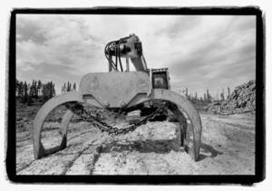 Industrial machinery used on Grassy Narrows land, Ontario. Photographer: Jon Schledewitz.